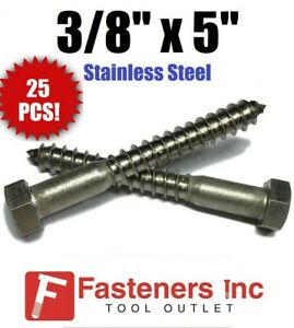 qty 25 3 8 X 5 Lag Screws Bolt Hex Head Stainless Steel 18 8 304