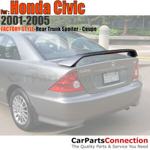 Primer Abs Rear Trunk Spoiler Wing 3rd Brake Led 2001 2005 Honda Civic 2dr Coupe