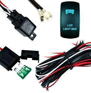 Light Bar Wiring Harness With Relay And Fuse Rocker Switch Led Light Bar 12v