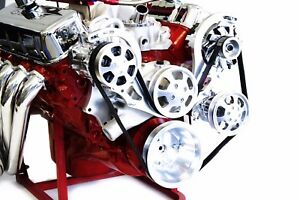 Bbc Serpentine Front Runner Pulley Drive Kit Polished chrome A c Alternator P s