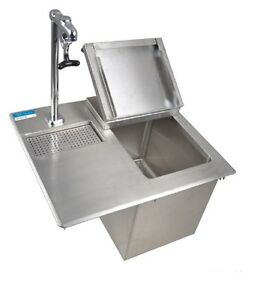 Drop In Ice Bin W Water Station Faucet 21 w X 18 d X 13 h Bbk diwsbl 2118g p g