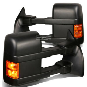 Fit 08 super Duty Pair Power heated turn Signal Dual Arm Rear Towing Side Mirror