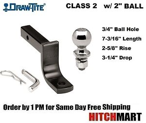 Class 2 Trailer Hitch Mount Pin Clip With 2 Ball 1 1 4 Receiver 36071 820