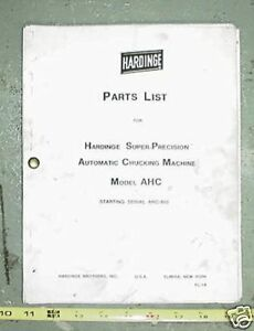 Hardinge Parts List Automatic Chucking Machine Ahc 850