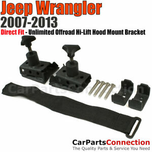 Unlimited Offroad Hi lift Hood Mount Bracket Black Jeep Wrangler 07 17 Jk