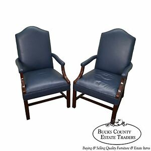 Quality Pair Of Blue Leather Chippendale Style Office Arm Chairs A