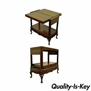 Vintage Queen Anne Style Mahogany Expanding Tea Accent Server Serving Table