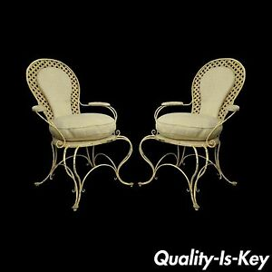 Pair Vintage Hollywood Regency Lattice Wrought Iron Patio Lounge Arm Chairs B
