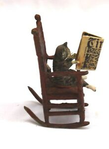 1900 Austrian Bronze A Cat Sitting On A Rocking Chair Reading Times Magazine