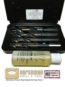 Norseman 4pc Super Premium Drill Bit Set 9 16 5 8 3 4 1 12250 W cutting Oil