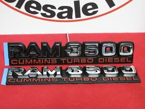 Dodge Ram 3500 Chrome Cummins Turbo Diesel Nameplates Set Of 2 New Oem Mopar