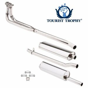 New Complete Exhaust System Polished Stainless Pipes Muffler Hardware Mgb 569