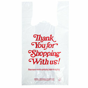 1 6 12x7x22 3000 Carry Out White Plastic Bags ships Commercial Address Only
