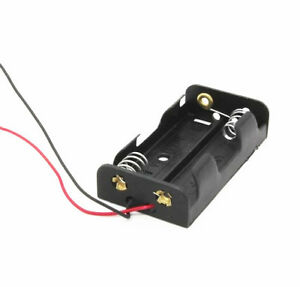 2pcs Plastic Battery Storage Case Box Holder For2 X Aa 2xaa 3v With Wire Leads