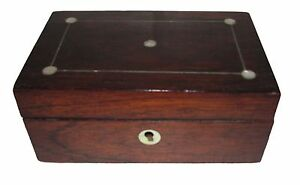 19th C Antique English Victorian Rosewood Mother Of Pearl Inlaid Jewelry Box
