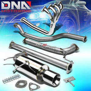 4 Rolled Tip Racing Catback 4 1 Header Exhaust System For 90 91 Integra Da Db