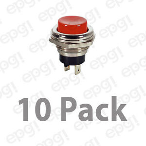 Spst n o Momentary On Red Push Button Switch 4amps 125vac pbs26c 10pk