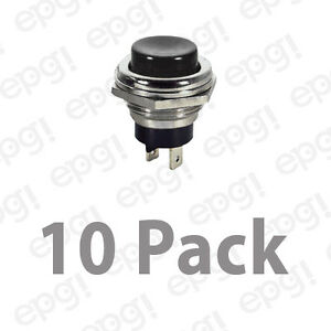 Spst n o Momentary On Black Push Button Switch 4amps 125vac 66 2423 10pk