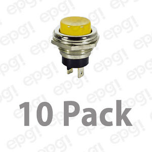 Spst n o Momentary On Yellow Push Button Switch 4amps 125vac 66 2429 10pk