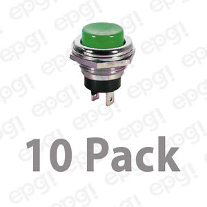 Spst n c Momentary off Green Push Button Switch 4amps 125vac 66 2426 10pk