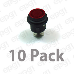 Spst on off Illuminated Push Button Switch Red 10amps 120vac 66 2495 10pk