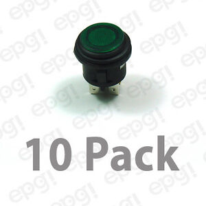 Spst on off Illuminated Push Button Switch Green 10amps 120vac 66 2497 10pk