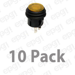 Spst on off Illuminated Push Button Switch Amber 10amps 120vac 66 2498 10pk