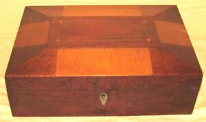 Antique Shaker Mixed Woods Inlaid Sewing Box