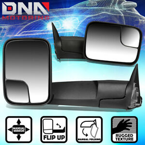 For 1994 2002 Dodge Ram Truck 1500 2500 3500 Pair Manual Side View Towing Mirror