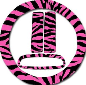Pink Zebra Steering Wheel Cover 2 Seat Belt Covers Rearview Mirror Cover