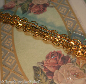 Antique Vtg French Gold Metal Trim Ribbon Work Lace Braid Doll Lampshade 3 8