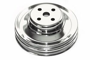Sbf 289 302 Chrome Steel Water Pump Pulley Double 2 Groove 64 73 Ford
