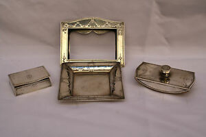 Magnificent Collection Of 4p Art Nouveau Tiffany Co Sterling Silver Desk Set