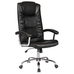 Ergonomic Back Adjustable Office Chair Leather Computer Desk Furniture Black