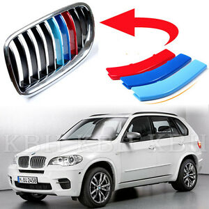 Fits Bmw X5 E70 Year 2008 2013 Kidney Grille M Sport 3 Colour Cover Stripe Clips