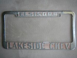 Elsinore Lakeside Chevrolet Dealership License Plate Frame Metal Embossed Old