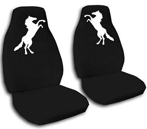 Mustang Horse Car Seat Covers Black White In Velour Front Set Choose Color