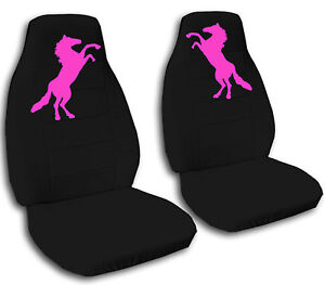 Mustang Horse Car Seat Covers In Hot Pink Black Velour Front Set