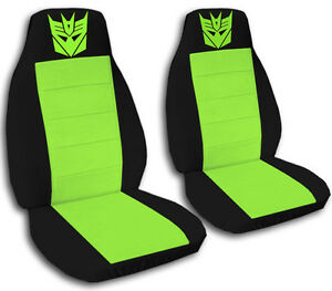 Decepticon Car Seat Covers In Lime Green Black Velour Front Set