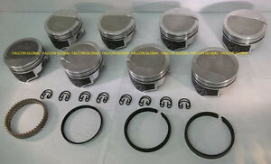 Speed Pro Trw Chevy 454 Forged 8cc Dish Coated Skirt Pistons File Fit Rings 60