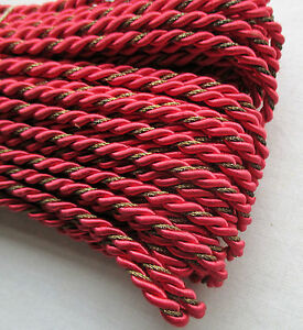 Vintage Scarlet Rope Cording Viscose W Gold Metallic Accent French
