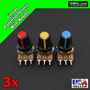 3x 100k Ohm Linear Taper Rotary Potentiometers B100k Pot W Black Knobs 3pcs U19