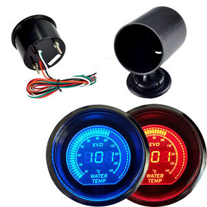 Car Hs Red Blue 2 52mm Digital Led Evo Water Temperature Gauge With Holder