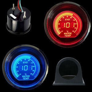 Car Hs Blue red 2 52mm Digital Led Evo Water Temperature Gauge With Pod Black