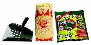 Paragon Popcorn Starter Kit 4 Ounce Popcorn Tri packs Scoop Bags