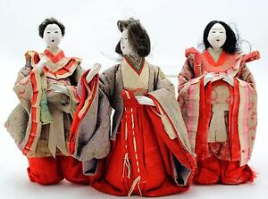 3x Antique Hina Ningyo Japanese Doll Court Ladies Gofun Glass Eyes Open Mouth