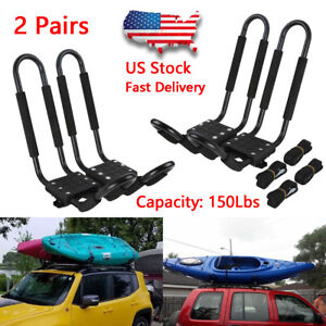 2 Pairs Universal Roof J bar Rack Kayak Boat Canoe Car Suv Top Mount Carrier New