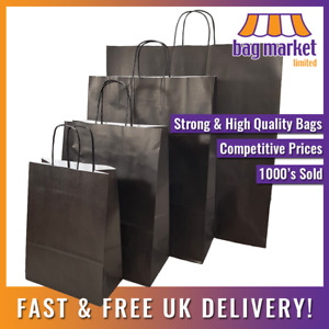 Strong Black Twisted Handle Paper Bags Kraft shop gift fashion party carrier