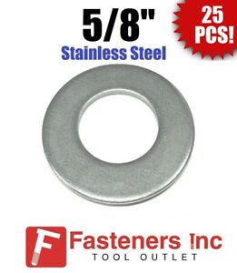 25 5 8 Stainless Steel Flat Washers 18 8 Stainless 1 1 2 Od 062 Thick