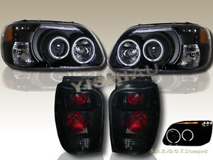 98 01 Ford Explorer Dual Ccfl Halo Led Projector Headlights Tail Lights Black